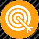 arrow on target, bulls eye, dart, dartboard, goal, target icon