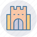 building, castle, citadel, fortress, palace, tower icon