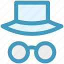 eyeglasses, eyeglasses and hat, eyeglasses with hat, fun, funny, hat icon