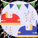 bumper car, amusement park, fun, ride icon