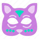 carnival, cat, face, mask, party icon