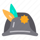 carnival, feather, hat, napoleon, party icon