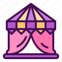 circus, holiday, magic, show, tent icon