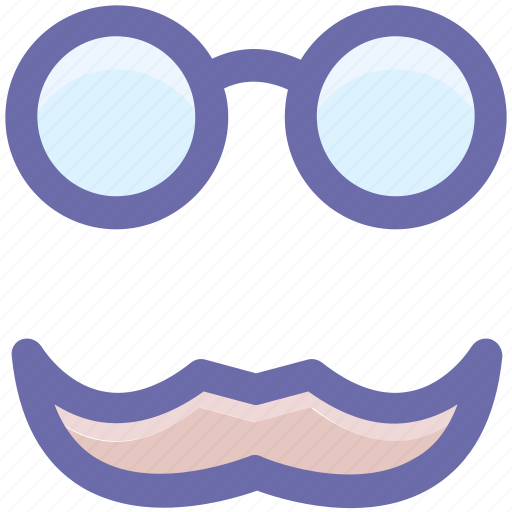 fun, funny, glasses, glasses and moustaches, glasses with moustaches, moustaches icon