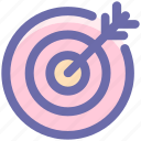 arrow on target, bulls eye, dart, dartboard, goal icon