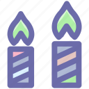 candle light, candles, decorations, fancy candles, light, two candles icon