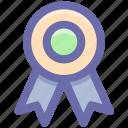 badge with ribbon, badge, emblem, award badge, seal