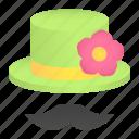 carnival, costume, fashion, flower, hat, moustache icon
