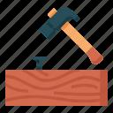 carpenter, carpentry, hammering, handyman, lumberjack, woodwork icon