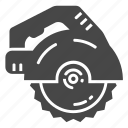 carpentry, circular saw, industrial saw icon