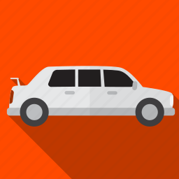 car, drive, limousine, shadow, white icon
