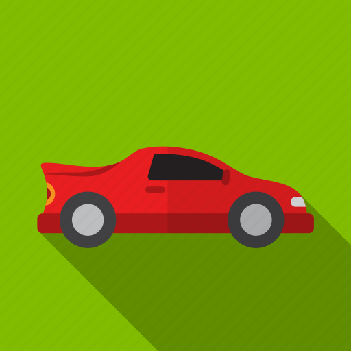 car, drive, red, road, shadow icon