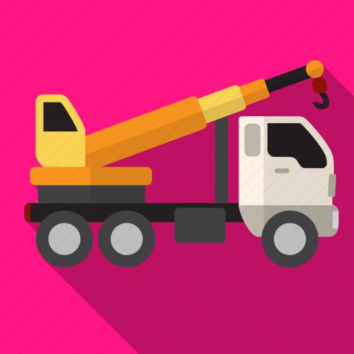 construction, crane, shadow, truck icon
