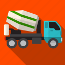 car, concrete, mixer, transport, transportation, truck icon
