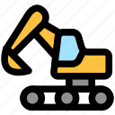 bulldozer, construction, crane, excavator, lifter, lifting, transport icon