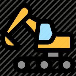 bulldozer, construction, crane, excavator, lifter, lifting, transport icon