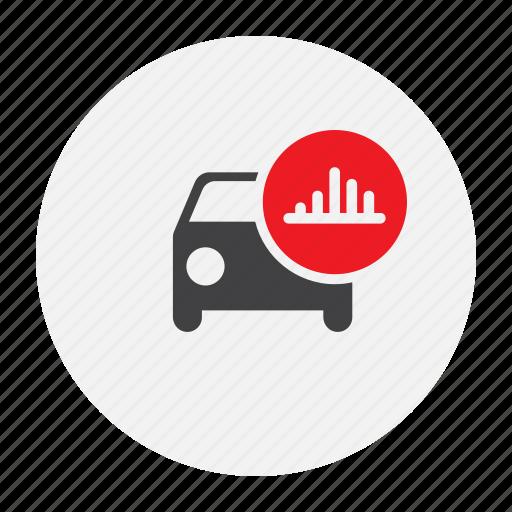 car, cog, report, statistics, stats icon