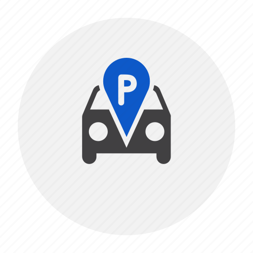 car, letter, map, marker, parking icon