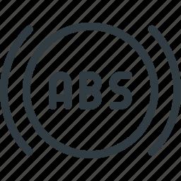 abs, car, dashboard, light, warming icon