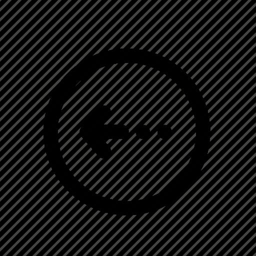 arrow, back, circle, direction, journey, left icon