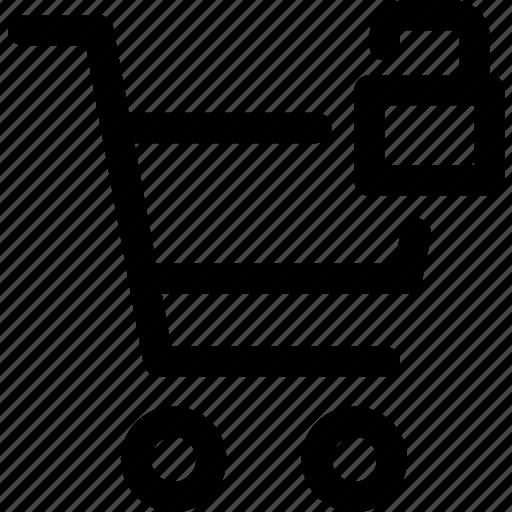 available, buy, padlock, shopping, trolly, unlocked icon