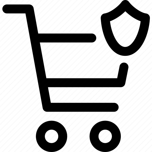 buy, protect, secure, shield, shopping, trolly icon