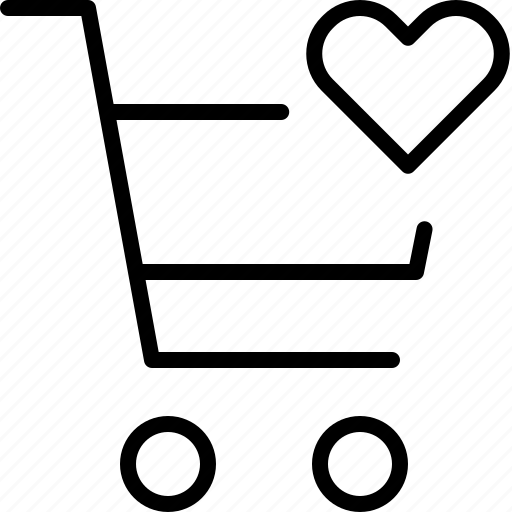 buy, favorite, heart, love, shopping, trolly icon