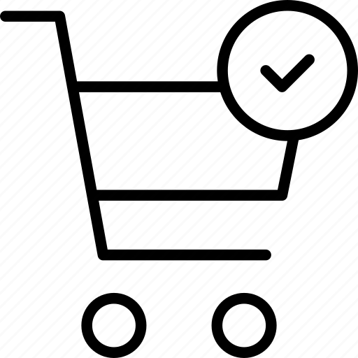 buy, check, confirmed, done, shopping, trolly icon