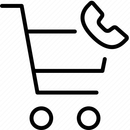 buy, call, conversation, phone, shopping, trolly icon