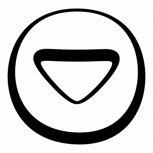 arrow, cartoon, circle, down, toon, ui icon