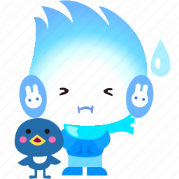 cartoon, character, cold, fireboy, shocked icon