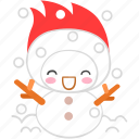 cartoon, character, cold, fireboy, happy, winter icon