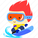 board, cartoon, character, fireboy, happy, snow, winter icon