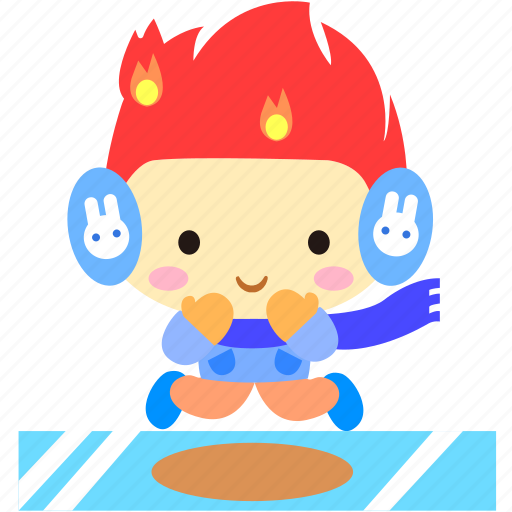 cartoon, character, fireboy, ice, joy, jump icon