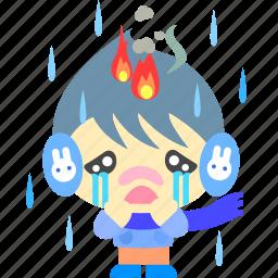 cartoon, character, fireboy, rain, sad icon