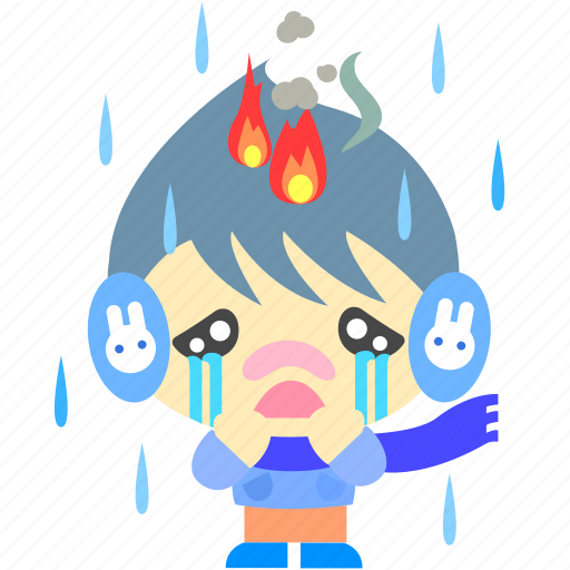 cartoon, character, fireboy, rain, sad icon