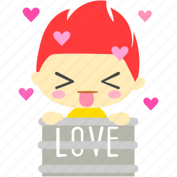 cartoon, character, excited, fireboy, love, romance icon