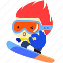 board, cartoon, character, fireboy, ok, snow icon