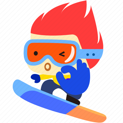 board, cartoon, character, fireboy, ok, snow icon