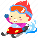 cartoon, character, cold, fireboy, sled, snow, winter icon