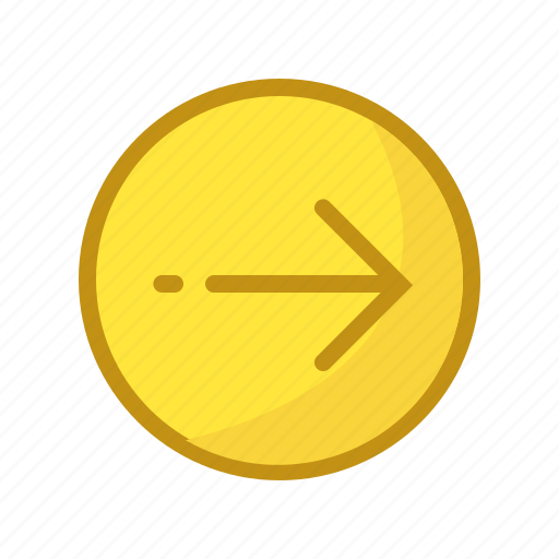 arrow, forward, mail, resend, yellow icon