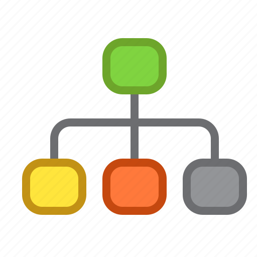 block, diagram, graph, mindmap icon