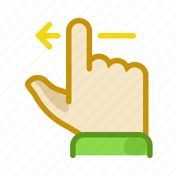finger, gesture, hand, inerface, left, screen, touch icon