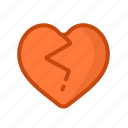 broken, crack, dislike, hate, heart, love icon
