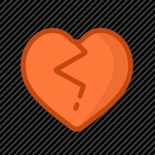 broken, crack, dislike, hate, heart, love icon