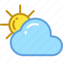 cloud, rain, sun, temperature, weather icon