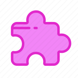 addon, application, difficult, gum, part, pink, puzzle icon