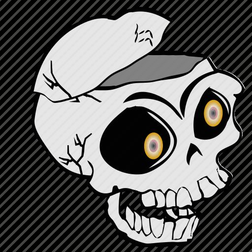 cartoon, haloween, skeleton, skull, spooky icon