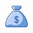 currency, dollar, money bag, payment icon