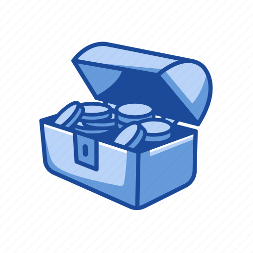 chest of gold, gold, jewelry, treasure icon